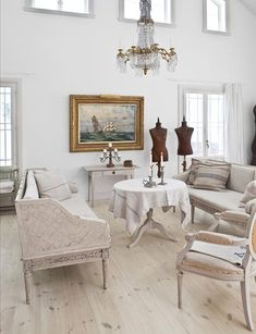 Shabby Chic Interior Design and Home Decoration Ideas Chic Decor, White Interior, Chic Interior, White Washed Floors, Shabby Chic Decor, Chic Living Room, White Rooms, Shabby Chic Homes, Gustavian Furniture