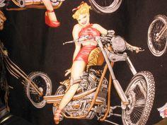 Hawaiian Camp Shirt Mens Sz L Flirty Saucy Pinup Girls Motorcycles Retro USA #ButtonFront