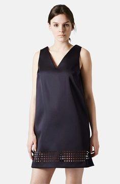 Topshop Laser Cut Satin Shift Dress available at #Nordstrom