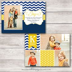 Photo Christmas Card Chevron Navy and Yellow by ModernWhimsyDesign