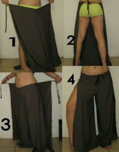 Nifty Wrap Pants Craftgrrl - Where Crafters Unite! - Nifty Wrap Pants: makes me think of the 'harem pants' they wore in all those old Sinbad films :) Diy Clothing, Sewing Clothes, Clothing Patterns, Sewing Patterns, Shirt Patterns, Dress Patterns, Doll Clothes, Sewing Pants, Pantalon Thai