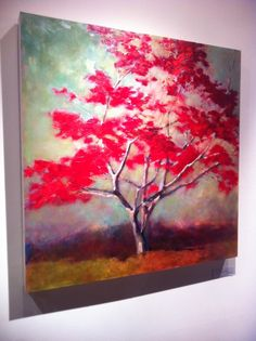 Original Painting of a Red Tree in Landscape