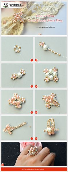 Pearl Beads Stitch Ring With glass pearl beads, seed beads and fishing wire, you can stitch a very delicate ring, just have a try! #pandahall #diy #freetutorial #pinkpearlring #beadedring #crossring #pearlringdiy #stitch #beading #weddingringdiy  #howto