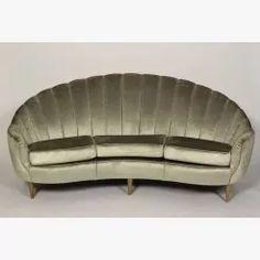 Italian silver velvet scalloped sofa
