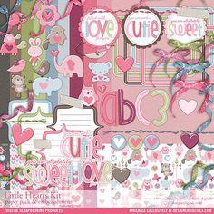 Little Hearts Kit - Digital Scrapbooking Kits DesignerDigitals