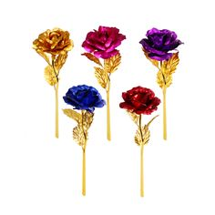 Elegant Romantic 24K Golden Rose Flower Wedding Decoration Festive Party Artificial Flowers Fleur Artificielle Without Box