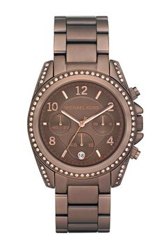 at the top of my lust list. MK 'Blair' Watch in Espresso. As Rachel Zoe would say.....I die for Michael Kors. Handbags Michael Kors, Chronograph, Plating, Stainless Steel, Crystals, Chocolate, Watch, Birthday, Clock