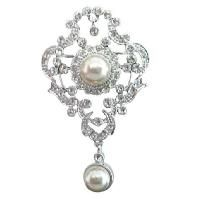 Victorian Antique Style Pin w/ Pearls Dangling Unique Bridal Brooch