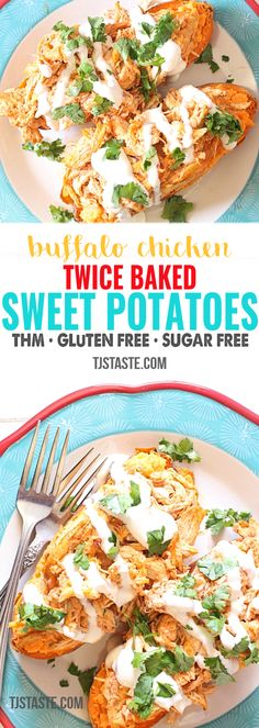 Buffalo Chicken Twice Baked Sweet Potatoes Trim healthy mama recipes Thm Recipes, Healthy Chicken Recipes, Dinner Recipes, Healthy Buffalo Chicken, Copycat Recipes, Drink Recipes, Free Recipes, Vegetarian Recipes, Dessert Recipes