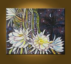 Art Painting Original Oil Painting -- Night Blooming Cereus -- 16 x 20 inch painting by Elizabeth Graf -- READY to HANG on Etsy, $109.00