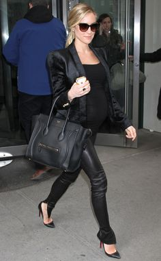 Kristin Cavallari The pregnant star rocked a pair of leather pants while out in New York City.