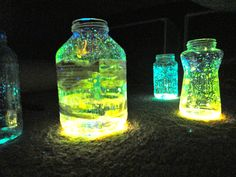 cut open glow sticks and pour them out. They last longer if you have a lid on the jar. love it!