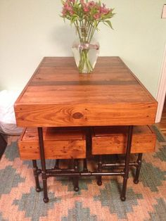 DIY Pipe Legs Pallet Dining Furniture , Table and benches Rustic Wood Furniture, Diy Pallet Furniture, Pipe Furniture, Dining Furniture, Pallet Dining Table, Dining Table Legs, Diy Table, Pallet Tables, Dining Room
