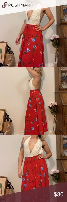 98608b34b1432 Sold on depop @caitibemis Absolutely gorgeous flowy Button front skirt  features sweet floral pattern. Super versatile and vibrant.