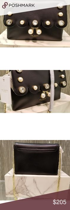 "TED BAKER LONDON - Leather Crossbody Saraa Embellished Scallop Edge Leather Crossbody:  Chain link crossbody strap; Pushlock flap closure; lined; 2 interior slip compartments; interior slip pocket; interior zip pocket; crystal and faux-pearl embellishments on front flap and closure; 9.5""Wx2.5""Dx6.5""H; 22""strap drop; leather; lining:polyester Ted Baker London Bags Crossbody Bags"
