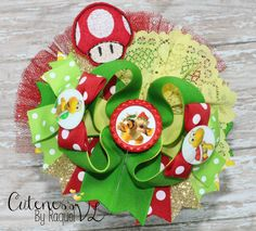 """""""Bowser"""" Boutique Bow Villains An Auction Style Event  Opens 3/17/15 at 5 PM CST  Closes at 3/19/15 at 9 PM CST  Purchase Here: www.facebook.com/dollhousedesigngroup"""