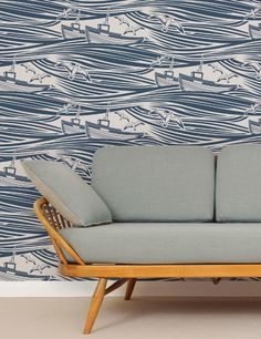 After seeing interesting accent walls, how delightful would this be? - Whitby Wallpaper in Washed Denim
