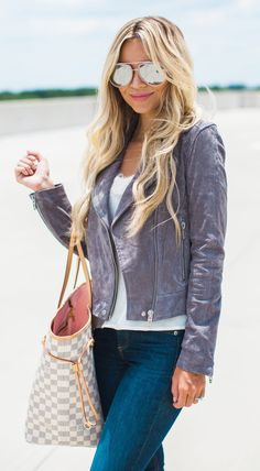 #summer #outfits Grey Leather Jacket + White Top + Skinny Jeans