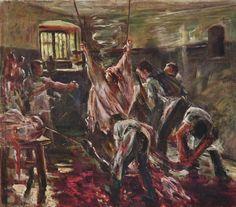 Lovis Corinth.  Im Schlachthaus. 1893, Öl auf Leinwand, 78 × 89 cm. Stuttgart, Staatsgalerie. Deutschland. Impressionismus.  KO 01252