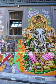 The chakra's associated animal is Ganesha, the elephant headed god. Ganesha is the lord of all beginnings and is invoked to bestow protection over all undertakings. New York Graffiti, Urban Graffiti, Street Art Graffiti, Graffiti Artwork, Graffiti Lettering, Graffiti Artists, Dope Art, City Art, Chalk Art