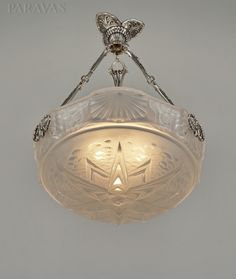 PETITOT & MULLER FRERES French art deco chandelier 1930. Plated bronze and pressed glass. (paravas-ebay)