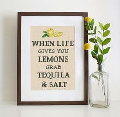"Funny cross stitch pattern ''Lemons & Tequilla'' Our easy embroidery design ""When life gives you lemons… grab tequila & salt"" brings smile on everyone's face. #lemons #tequila #quotes #crossstitch #crossstitching #funnyquotes #embroidery"
