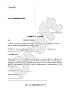 Quit Claim Deed Form   Free Quit Claim Deed Template (with Sample)   Deed