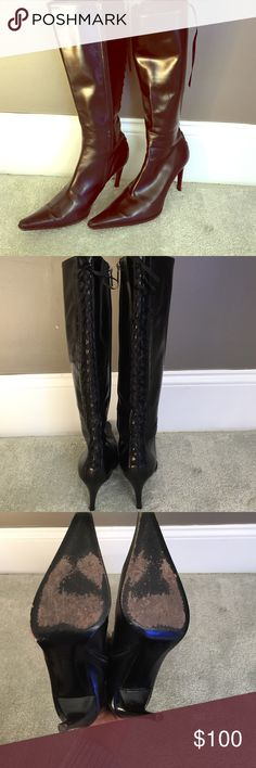 HELEN MARLEN BLACK LEATHER KNEE HIGH BOOTS Great condition.  Black leather, sexy lace up back. Heels measure a little over 3 inch.  Only signs of wear is on soles. helen marlen Shoes