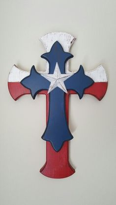 The large Texas cross Mosaic Crosses, Wooden Crosses, Crosses Decor, Wall Crosses, Decorative Crosses, Cross Patterns, Wood Patterns, 4th July Crafts, Rustic Wood Crafts