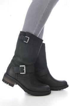 Boot 2 gespen hout zool zwart