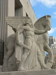 Warrior and winged horse, war memorial, St. Louis.