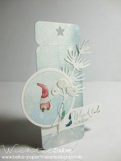Die kleinen Wichtel sollten doch jetzt auch endlich mal zum Einsatz kommen .... und da nächste Woche wieder die geheimnisvolle Wichtelzeit ... Holiday Cards, Christmas Cards, Paper Art, Paper Crafts, Christmas Inspiration, Bellisima, Gift Tags, Stampin Up, Card Making
