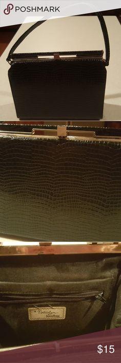 Black gator textured bag Vintage Excellent condition Clean nice & classy. Vintage Bags Satchels