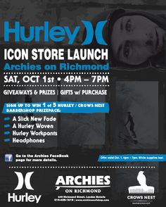 I have been involved in several events with Archies to help bring in new customers and drive sales. This flyer was from our Hurley IconDoor Launch. Event Organization, Archie, Hurley, Bring It On, Product Launch, Events, Happenings