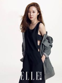 """In her recent pictorial for """"ELLE"""" magazine, actress Gong Hyo Jin shows off a simplistic, yet stylish line of outfits, expressing her minimalist style of dress. Lee Sun, Jung Ryeo Won, Kim Young, Gong Hyo Jin, Girls Run The World, Soo Jin, Lil Black Dress, Asian Celebrities, Elle Magazine"""