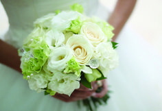 Rose Lisianthus and green Carnation with crystals by Tirtha Bridal Uluwatu Bali #wedding #bouquet