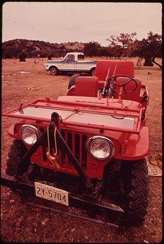 """Hunter's Jeep,"" Leakey, Texas. Marc St. Gils, November 1972."