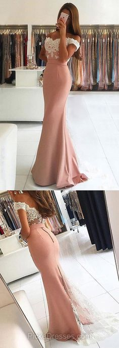 Pink Prom Dresses Off-the-shoulder, 2018 Formal Dresses Trumpet/Mermaid, Lace Party Dresses Backless, Tulle Silk-like Evening Pageant Dresses Satin Appliques