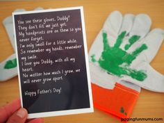 Father's Day Gloves perfect fathers day gift, daughter to dad gifts, fathers day crafts for papa Diy Father's Day Gifts Easy, Father's Day Diy, Diy Gifts, Holiday Crafts, Fun Crafts, Diy And Crafts, Crafts For Kids, Fathers Day Crafts, Gifts For Father