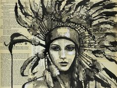 "Saatchi Online Artist: Sara Riches; Ink 2013 Drawing ""Wiwasteka"" #art #american indian #pen and ink"