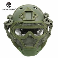 Emerson System Set Tactical Airsoft Paintball PJ Helmet with Overall Protect Glass Face Mask Military Helmet Equipment Paintball Field, Paintball Gear, Most Popular Games, Most Popular Sports, Survival, Airsoft Guns, Airsoft Helmet, Helmet Design, Military Gear