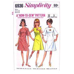 1960s Dress Pattern Simplicity 6936 A-line by finickypatternshop