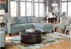 Cindy Crawford Home Madison Place Hydra 3 Pc Sectional Living Room-Sectional Living Rooms (Blue)