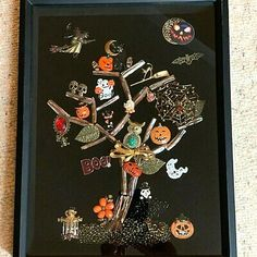 With prowling black cats, flying witches, spooky jack-o-lanterns. and more,this Halloween Tree will delight all who trick or treat at. your door ! jewery art picture is sure to add charm (and spookiness) to your. Jewelry Frames, Jewelry Display Box, Bracelet Display, Jewelry Tree, Old Jewelry, Custom Jewelry, Antique Jewelry, Jewelry Storage, Jewelry Making
