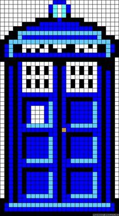 Doctor Who TARDIS perler bead pattern