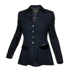 Ladies Riding Jacket--Short Ladies Wool Show Jacket Italian wool with one way stretch. Velvet on collar and cuffs. KLD logo on left pocket, quote from W. Churchill inside • 090 Black: Gold logo buttons in front and on cuffs • 020 Navy: Silver logo buttons in front and on cuffs.