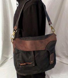SATCHEL & PAGE Shoulder bag black waxed canvas tan leather Alegna
