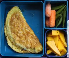 lunch featured (clockwise):    A bacon omelette  Baby carrots and sugar snap peas  Sliced fresh ripe mango