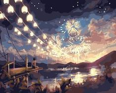 Watching fireworks by the pier - DIY Paint By Numbers Kits for Adults