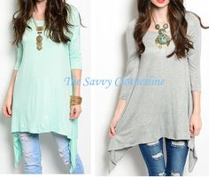 """REG Asymmetrical Top: $12.99  65% RAYON 35% VISCOSE. Made in the USA.  Mint or Grey.... only order if you're okay with grey as a backup because there""""s only one bundle of mint left right now.   Reserve Here ►http://group.thesavvyclothesline.com"""